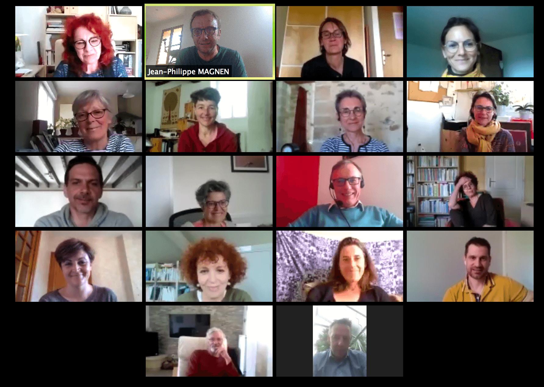capture d 'écran des 18 participants à la viso réunion du 17 avril 2020